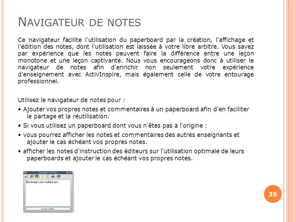 Navigateur de notes