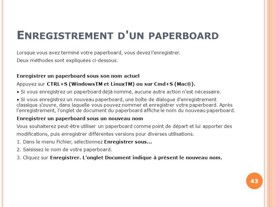 Enregistrement d un paperboard