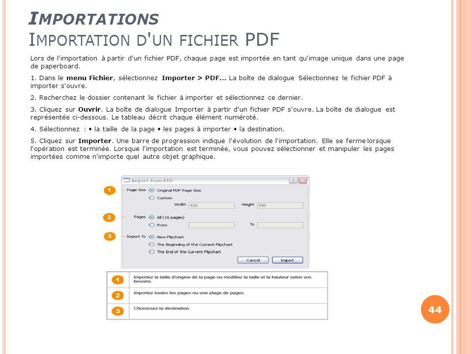Importations Importation d un fichier PDF