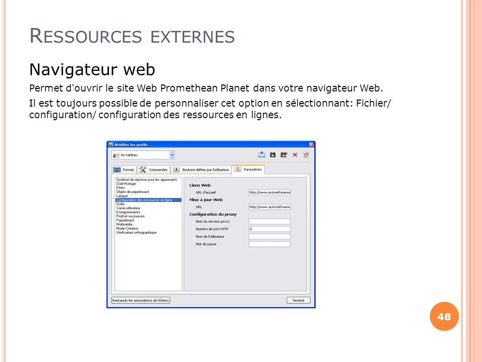 Ressources externes Navigateur web