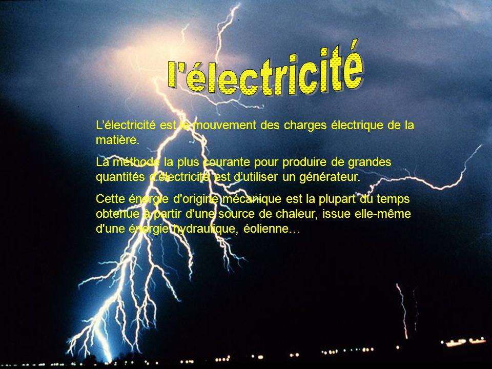 l électricité L'électricité est le mouvement des charges électrique de la matière.