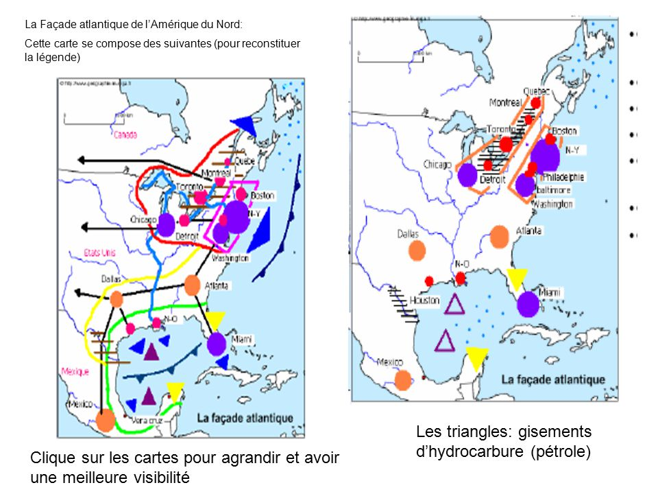 Les triangles: gisements d'hydrocarbure (pétrole)