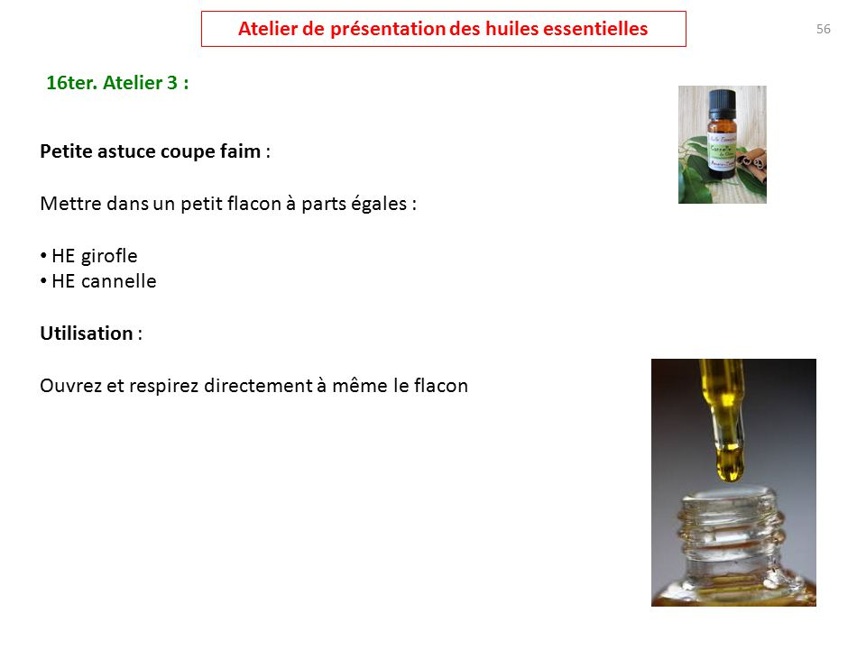 Atelier pr sentation huiles essentielles ppt t l charger - Huile essentiel coupe faim ...