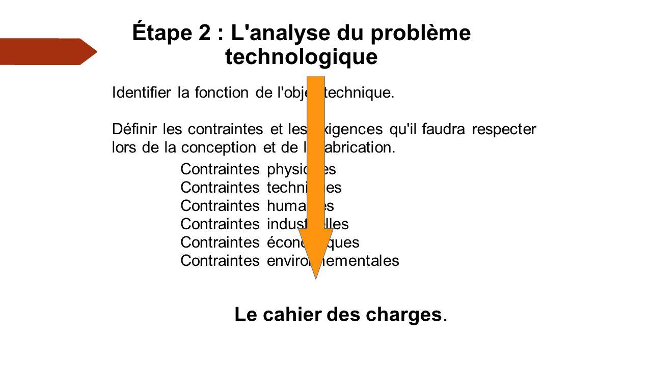 Étape 2 : L analyse du problème technologique