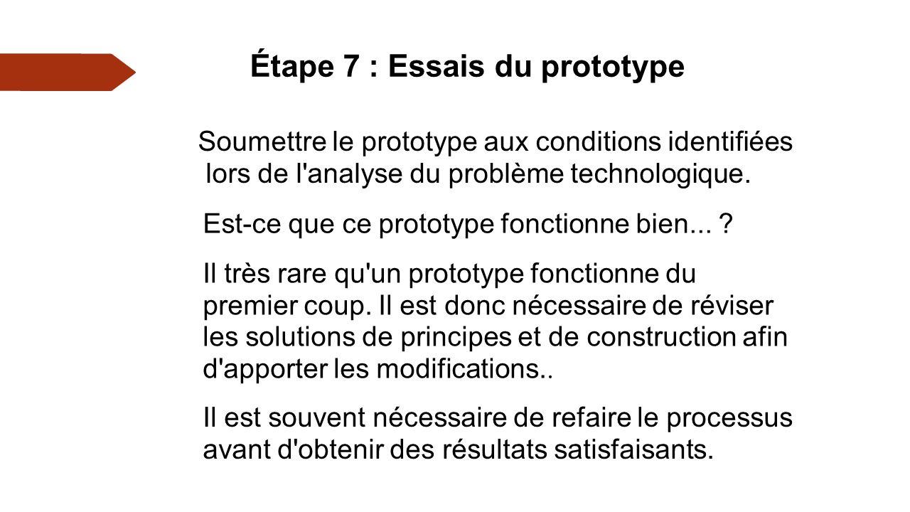 Étape 7 : Essais du prototype