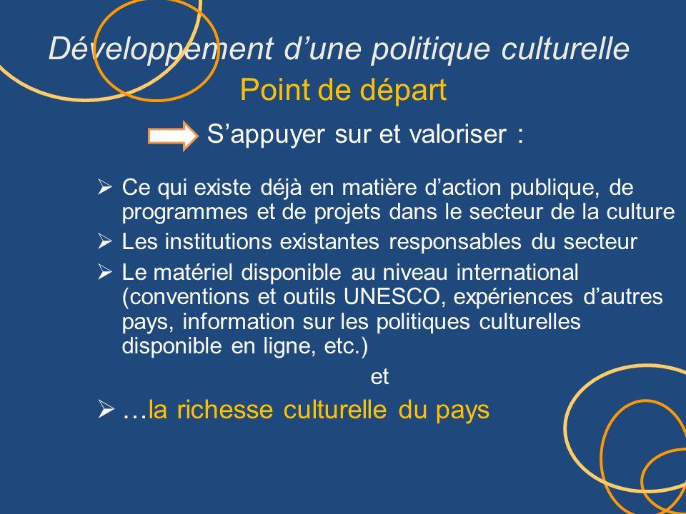 Développement d'une politique culturelle Point de départ