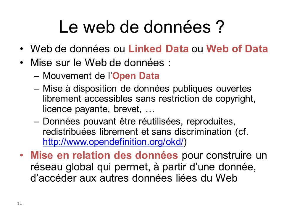 Le web de données Web de données ou Linked Data ou Web of Data