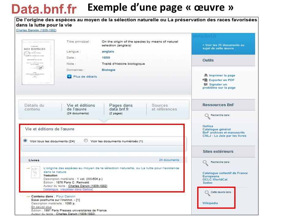 Data.bnf.fr Exemple d'une page « œuvre »