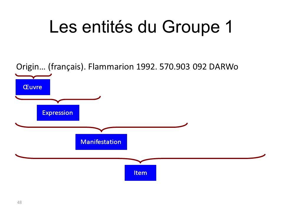 Les entités du Groupe 1 Origin… (français). Flammarion 1992. 570.903 092 DARWo. Œuvre. Expression.