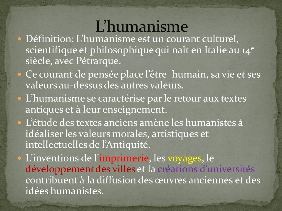 L humanisme et la renaissance ppt t l charger for Definition de l
