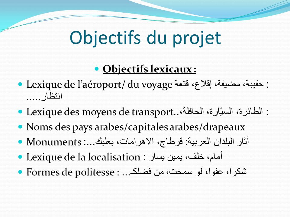 Objectifs du projet Objectifs lexicaux :