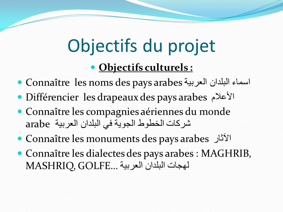 Objectifs du projet Objectifs culturels :