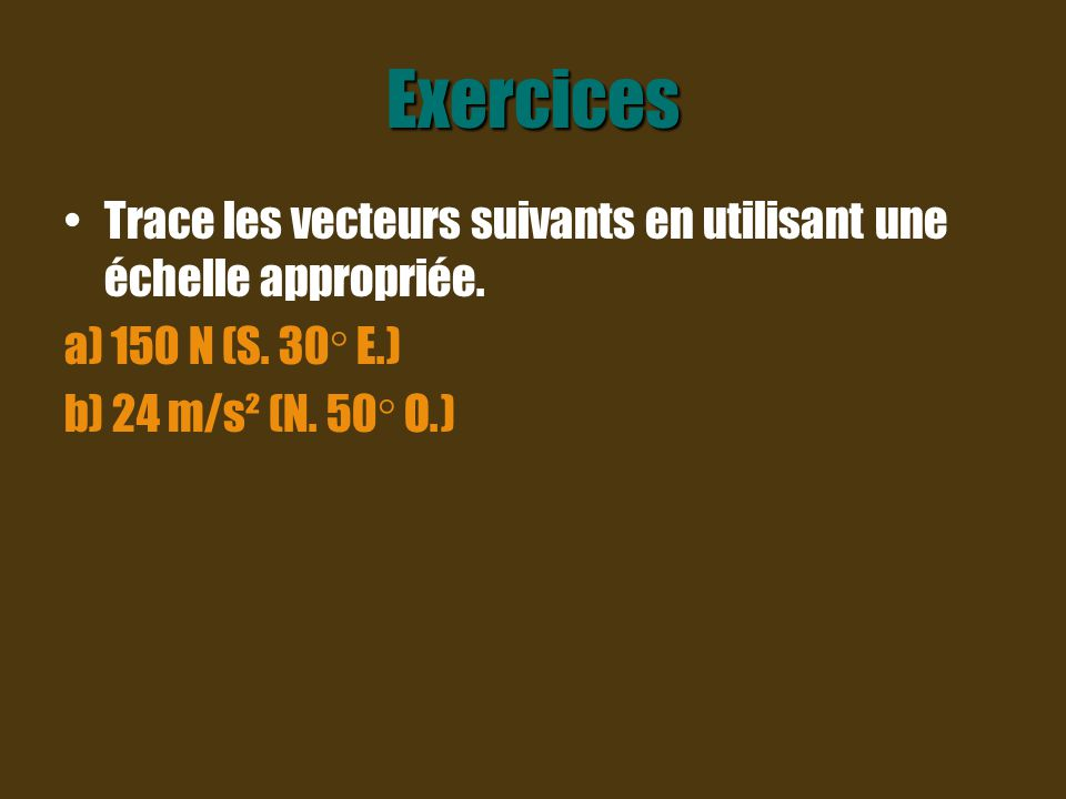 Exercices Trace les vecteurs suivants en utilisant une échelle appropriée.
