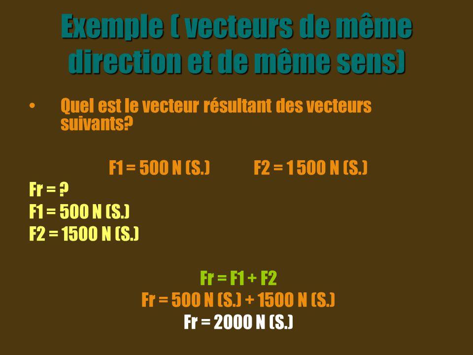 Exemple ( vecteurs de même direction et de même sens)