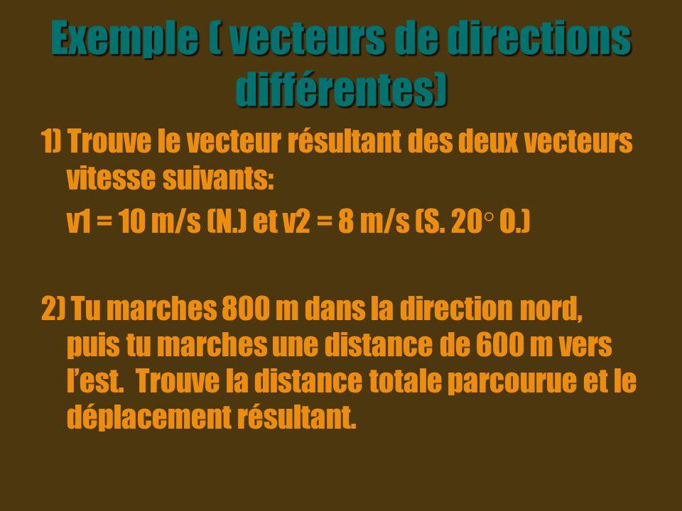 Exemple ( vecteurs de directions différentes)