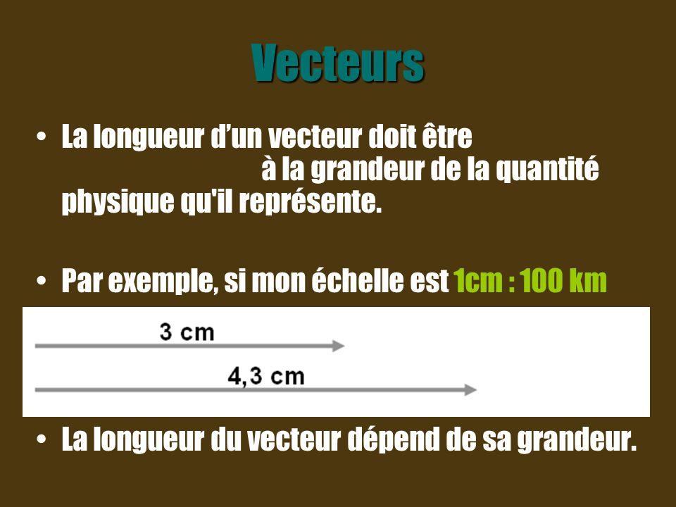 Vecteurs La longueur d'un vecteur doit être proportionnelle à la grandeur de la quantité physique qu il représente.