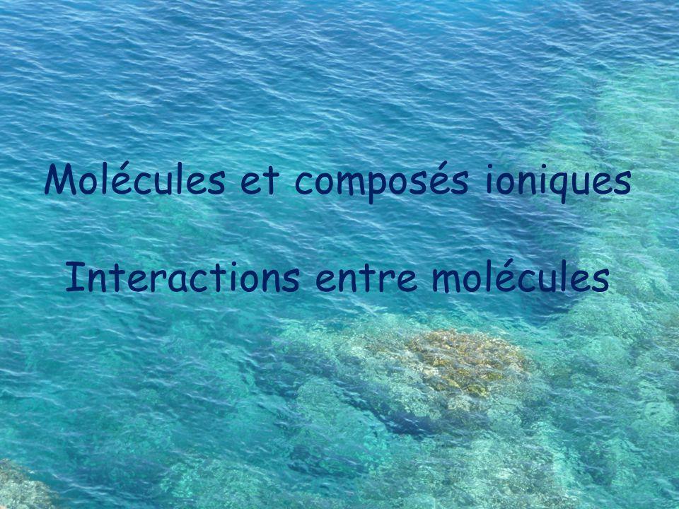 Molécules et composés ioniques Interactions entre molécules