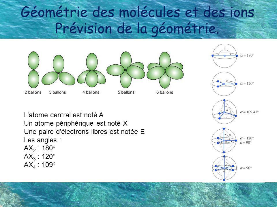 Géométrie des molécules et des ions Prévision de la géométrie.