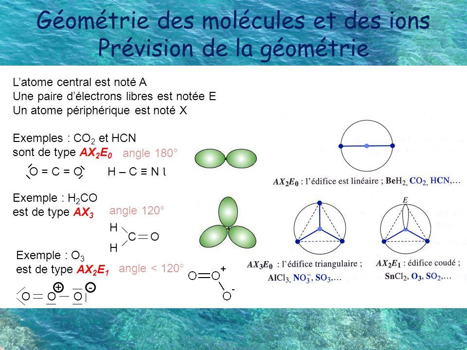 Géométrie des molécules et des ions Prévision de la géométrie