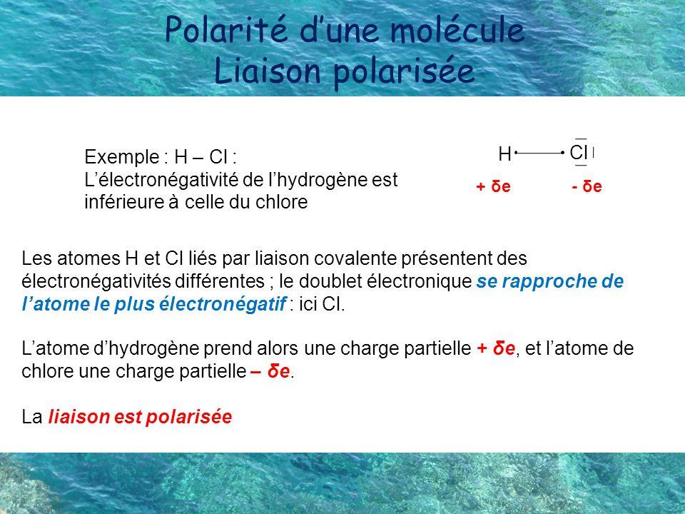 Polarité d'une molécule Liaison polarisée