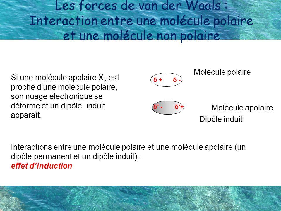 Les forces de van der Waals : Interaction entre une molécule polaire et une molécule non polaire