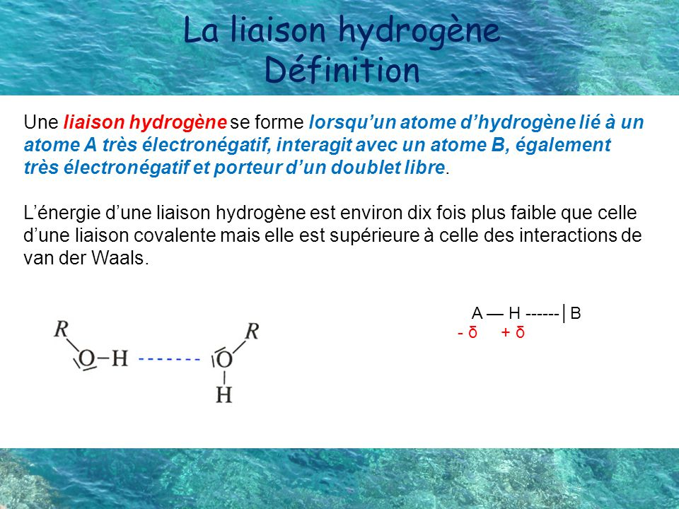La liaison hydrogène Définition