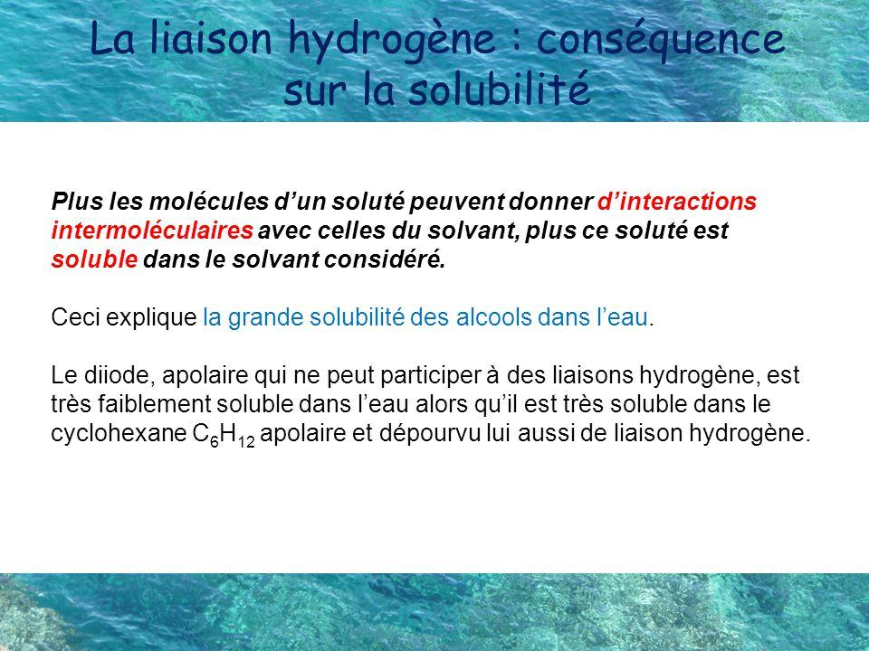 La liaison hydrogène : conséquence sur la solubilité