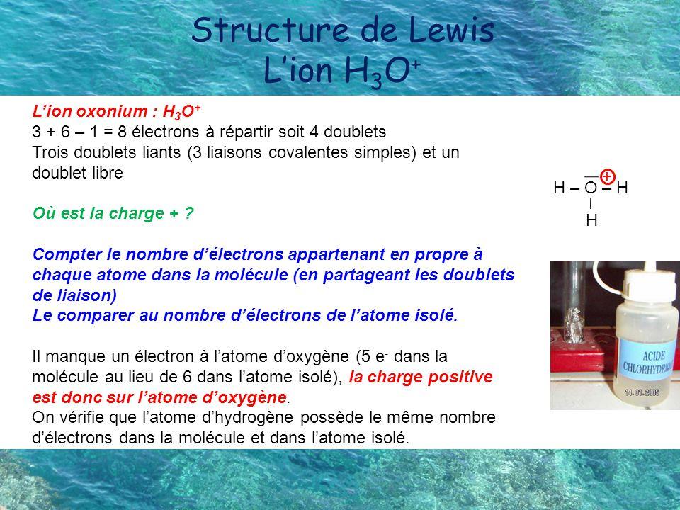 Structure de Lewis L'ion H3O+