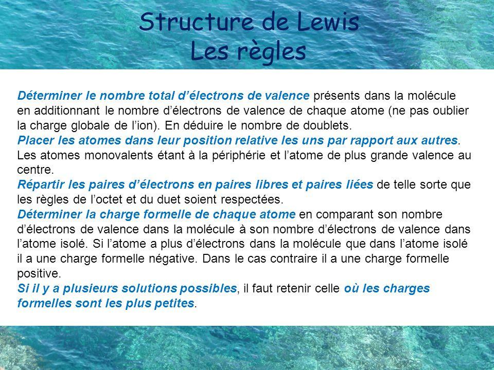 Structure de Lewis Les règles