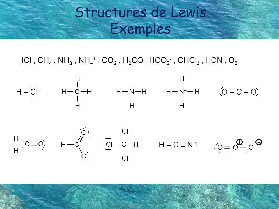 Structures de Lewis Exemples
