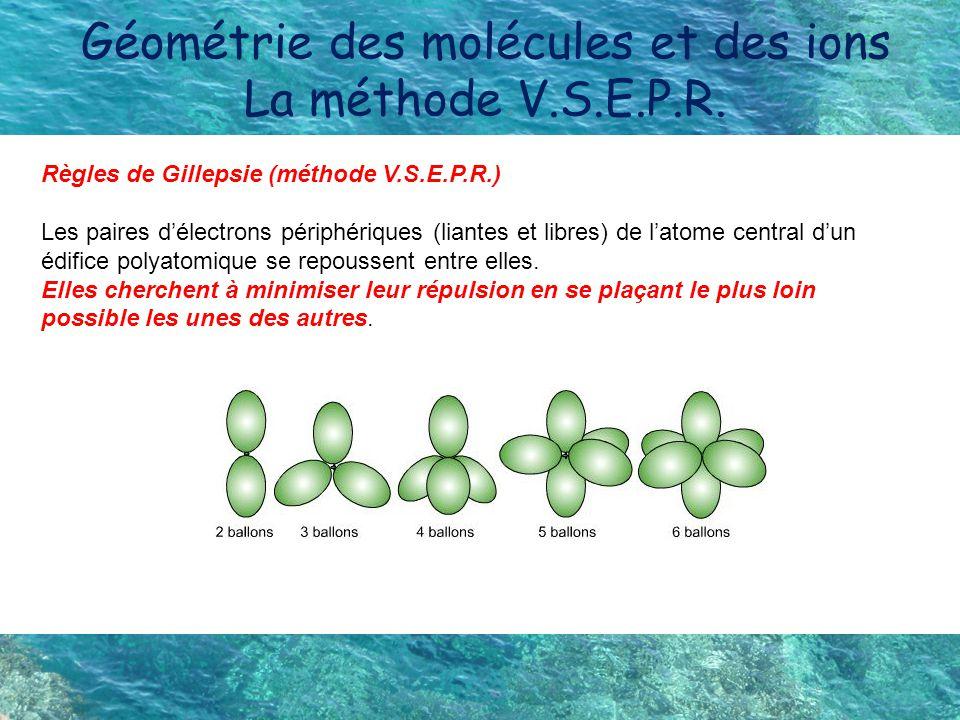 Géométrie des molécules et des ions La méthode V.S.E.P.R.