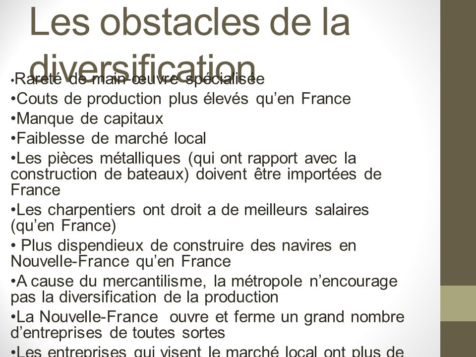 Les obstacles de la diversification