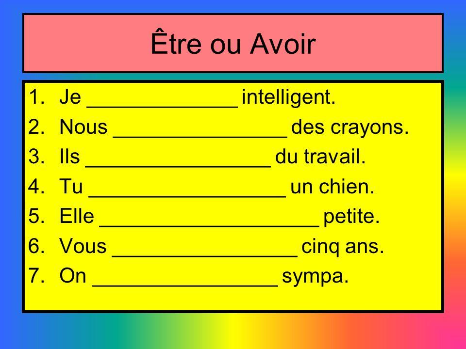 Être ou Avoir Je _____________ intelligent.