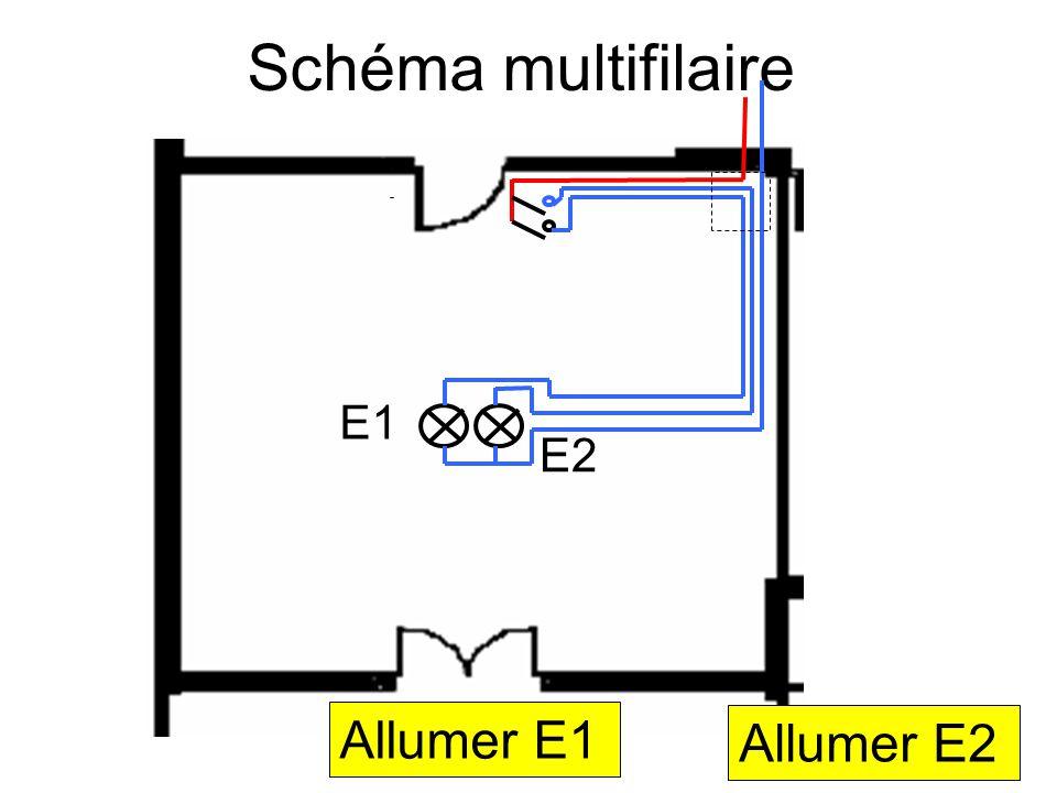Schéma multifilaire E1 E2 Allumer E1 Allumer E2