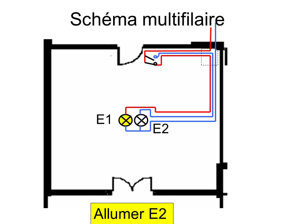 Schéma multifilaire E1 E2 Allumer E2