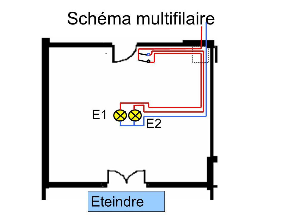 Schéma multifilaire E1 E2 Eteindre