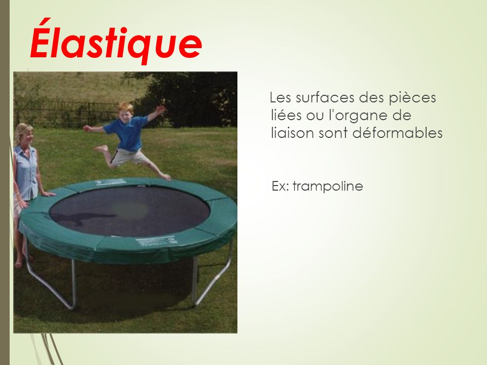 Élastique Les surfaces des pièces liées ou l organe de liaison sont déformables Ex: trampoline