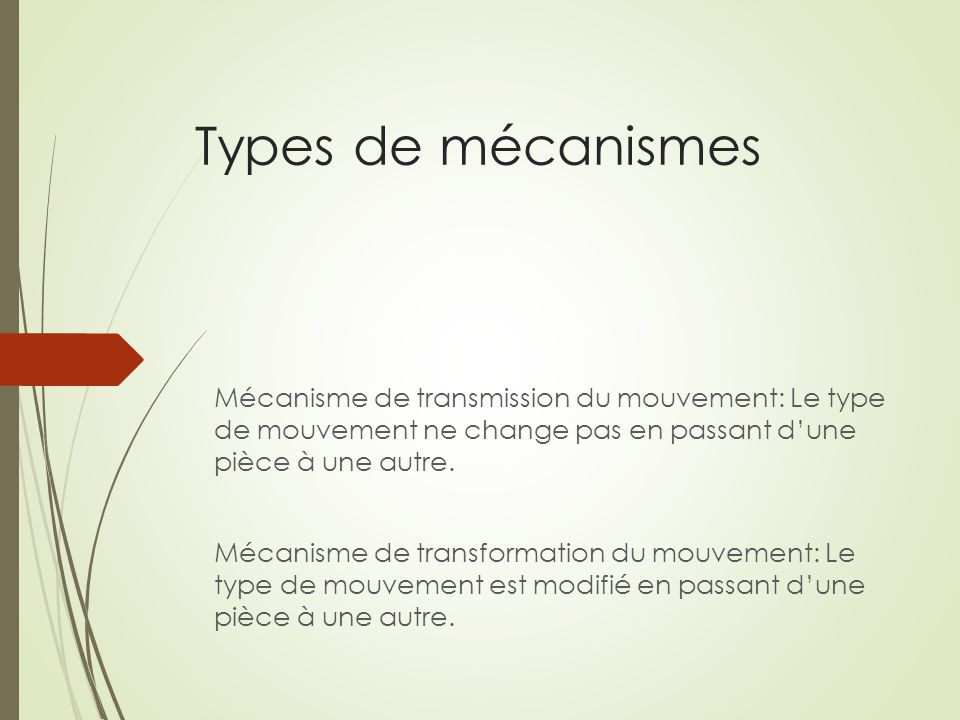 Types de mécanismes Mécanisme de transmission du mouvement: Le type de mouvement ne change pas en passant d'une pièce à une autre.