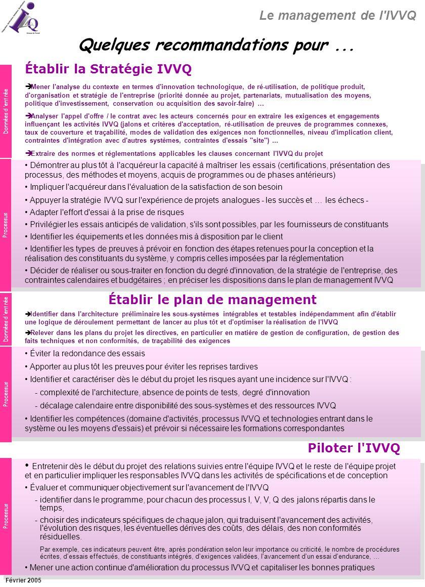 Quelques recommandations pour ... Établir le plan de management