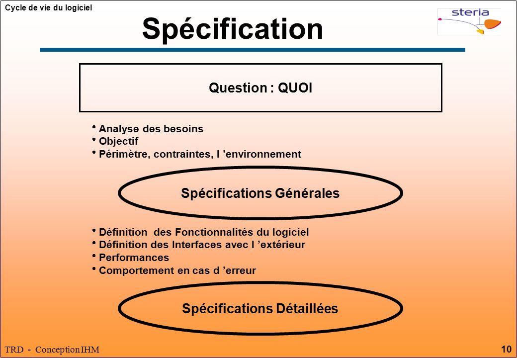 Spécifications Générales Spécifications Détaillées