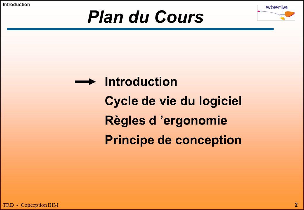 Plan du Cours Introduction Cycle de vie du logiciel
