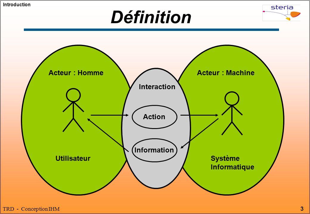 Définition Acteur : Homme Acteur : Machine Interaction Action