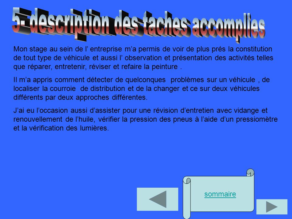 5- description des taches accomplies