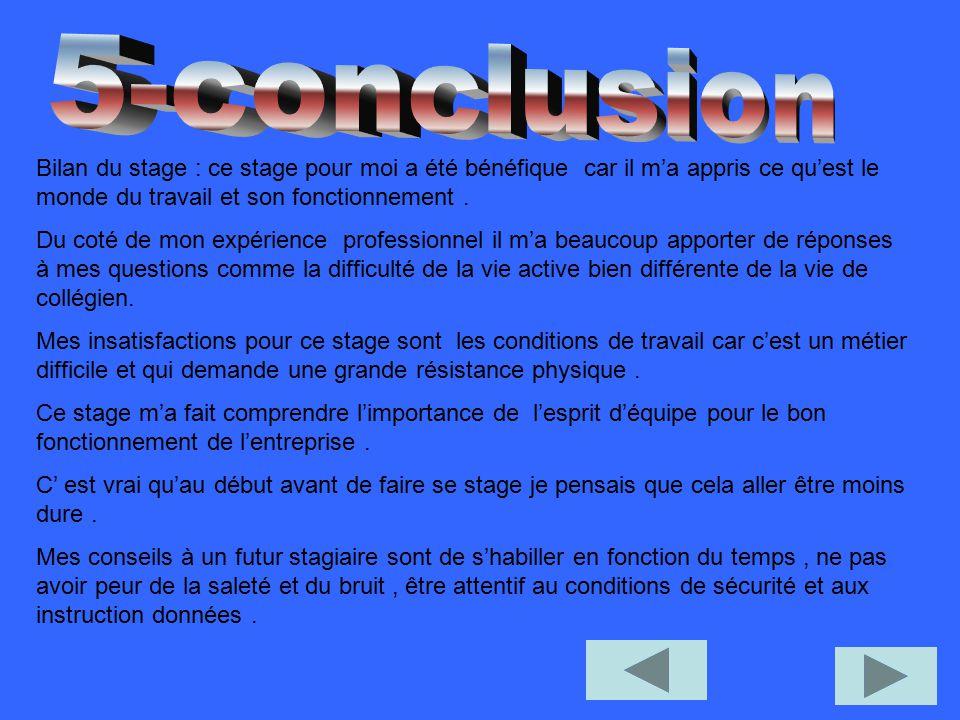 5-conclusion Bilan du stage : ce stage pour moi a été bénéfique car il m'a appris ce qu'est le monde du travail et son fonctionnement .