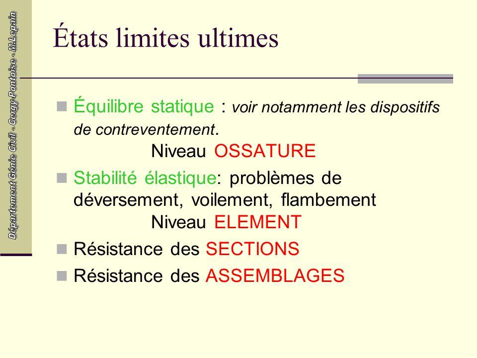 États limites ultimes Équilibre statique : voir notamment les dispositifs de contreventement. Niveau OSSATURE.