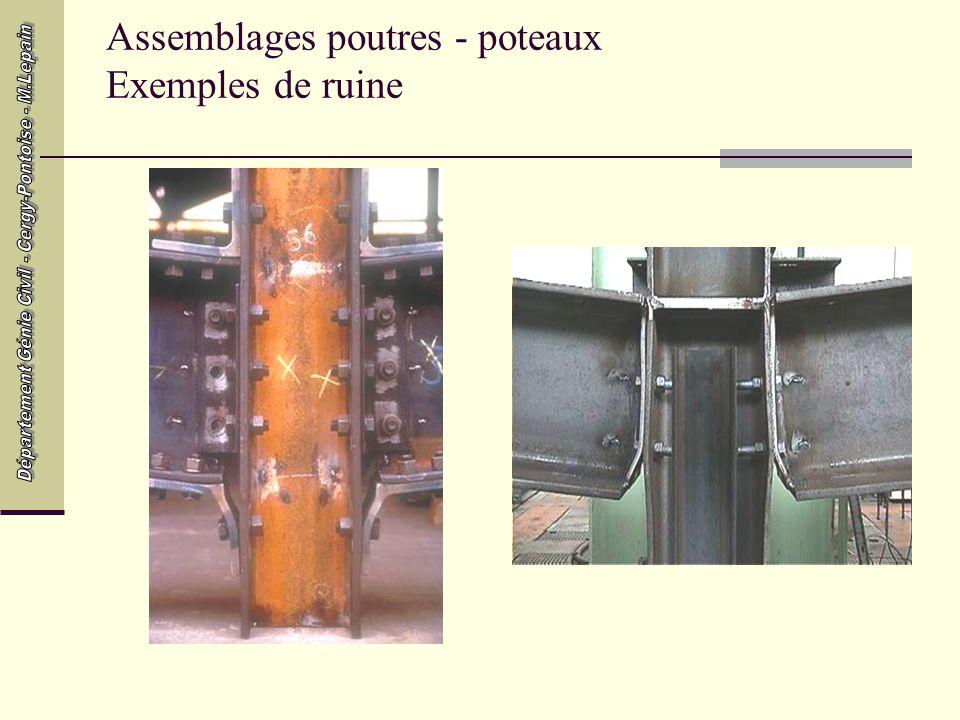 Assemblages poutres - poteaux Exemples de ruine