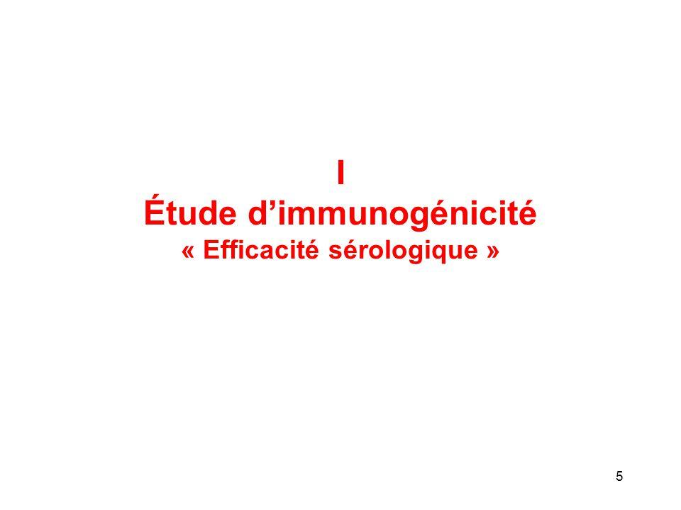 Étude d'immunogénicité « Efficacité sérologique »