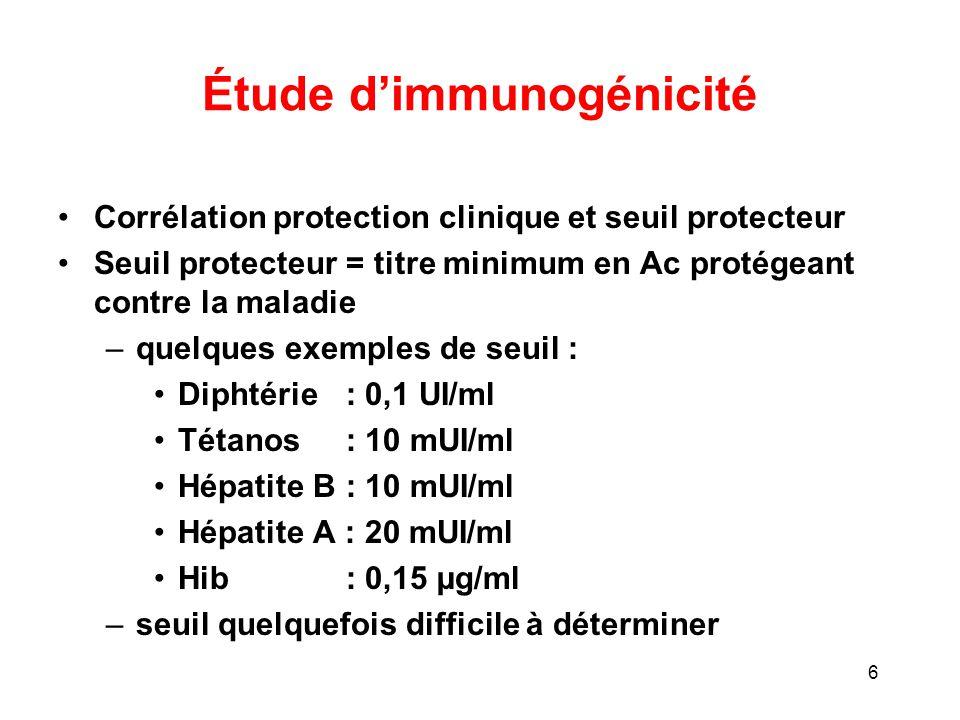 Étude d'immunogénicité