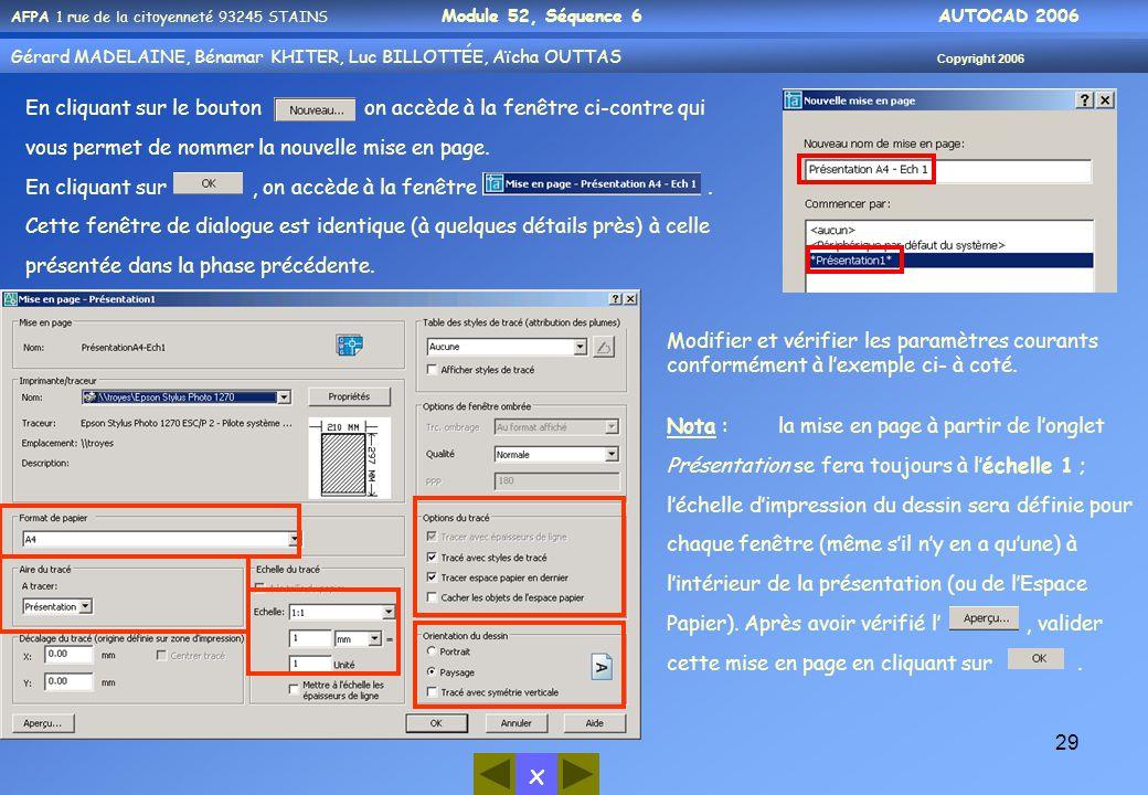 En cliquant sur le bouton on accède à la fenêtre ci-contre qui vous permet de nommer la nouvelle mise en page.