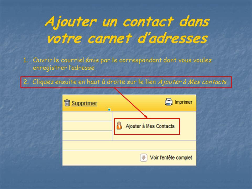 Ajouter un contact dans votre carnet d'adresses